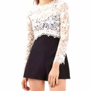 Topshop Open Back Lace Top Black Bottom Romper NWT